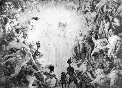 Norman Lindsay Facsimile Etching - Visitors to Hell